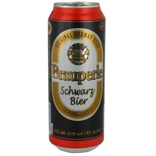 Brauperle Schwarzbier, пиво темное фильтрованное 0,5 л, ж/б