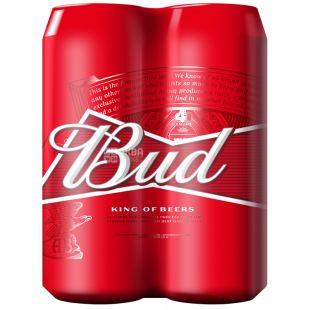 Bud, пиво світле, промопак 4*0,5 л, ж/б
