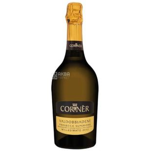 Corner Prosecco sparkling wine, White dry, 0.75 l, Glass bottle
