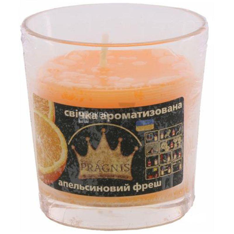 Pragnis Свеча в стакане, аромат Апельсиновый фреш, D 6,5см