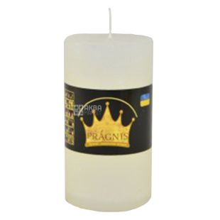 Pragnis Rustik Cylinder White, Candle, D7cm x10 cm