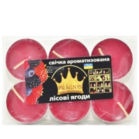 Pragnis Candle tablet, aroma of red berries, 6 pcs.