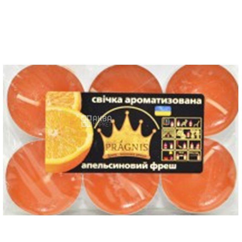 Pragnis Свеча таблетка, аромат апельсин, 6 штук