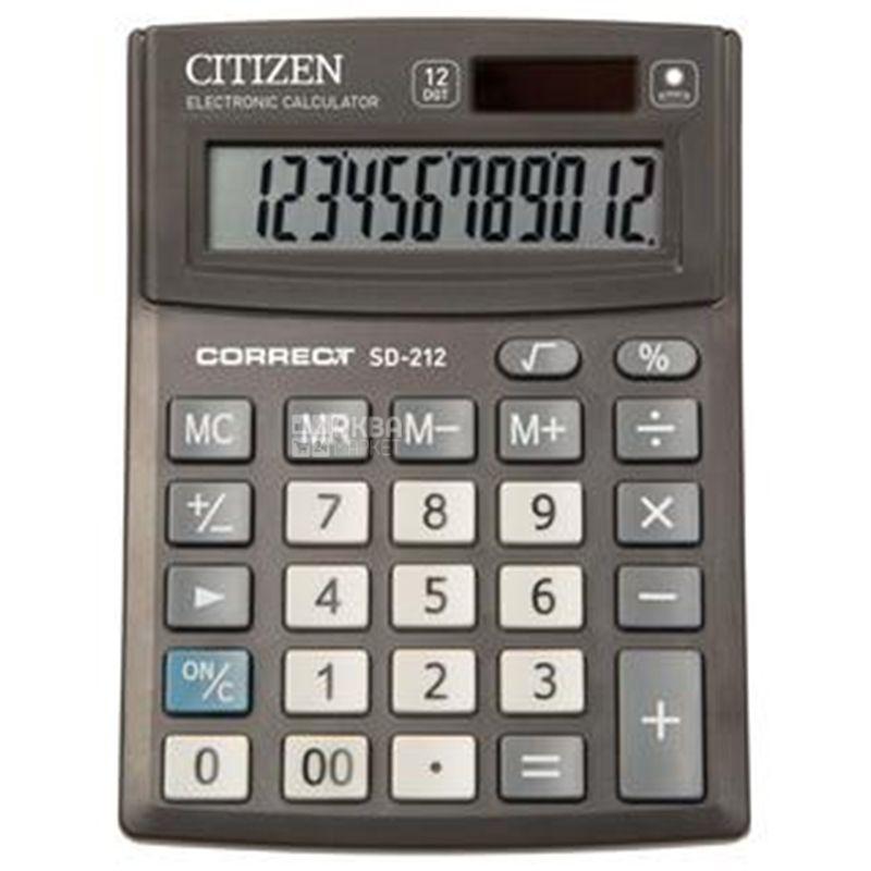 Citizen SD-212, Калькулятор настольный, 103х138х24 мм
