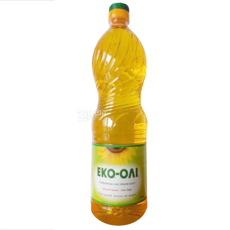 Эко-Оли, Масло подсолнечное нерафинированное, 1 л, ПЭТ