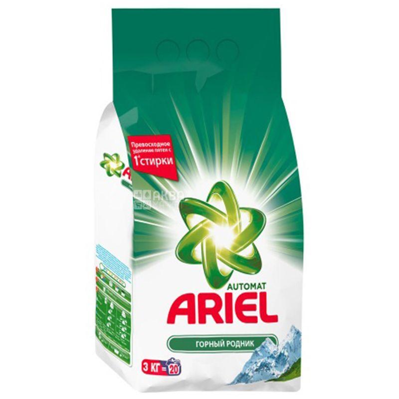Ariel, 3 кг, Стиральный порошок Для белого белья, Горный родник, Автомат
