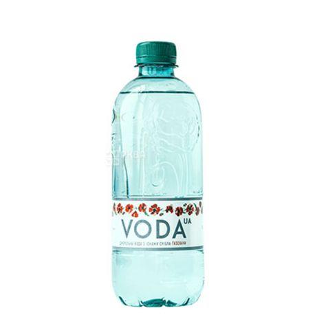VODA UА, 0,5 л, Упаковка 12 шт., Вода ЮА, Вода газована, ПЕТ
