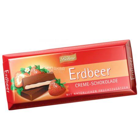 Bohme, Шоколад черный с кремово-клубничной начинкой, 100 г, м/у