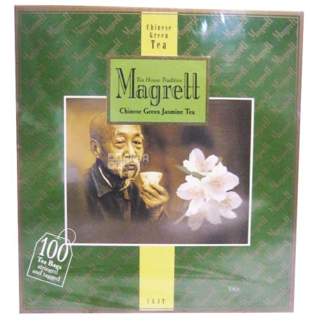 Magrett, 100 шт., чай, зелений, Green Jasmin, картон
