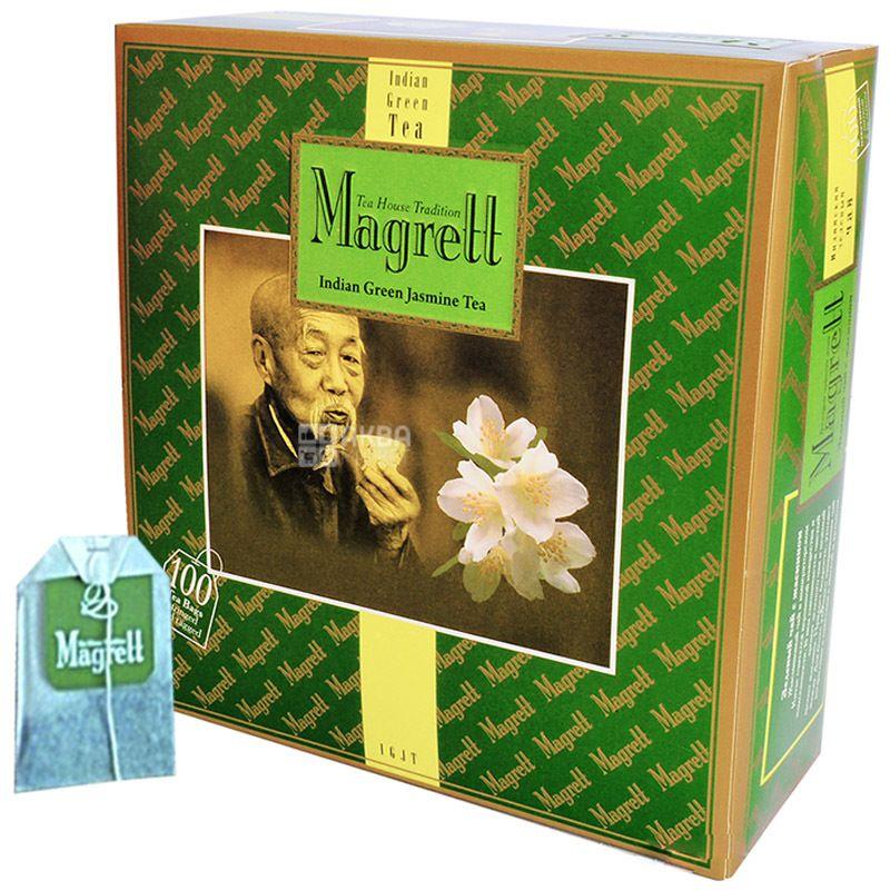 Magrett, 100 шт., чай, зеленый, Green Jasmin, картон