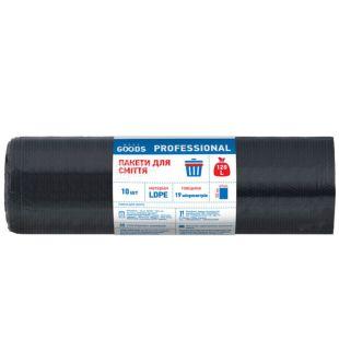 More Goods Professional, 10 шт., 120 л, Пакеты для мусора Мор Гудс Профешнл, без затяжек, суперпрочные, черные