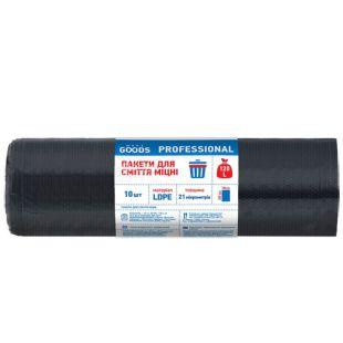 More Goods Professional, 10 шт., 120 л, Пакети для сміття Мор Гудс Профешнл, без затягувань, суперміцні, чорні