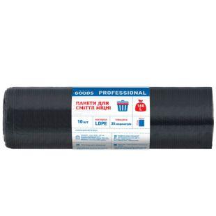 More Goods Professional, 10 шт., 160 л, Пакеты для мусора Мор Гудс Профешнл, без затяжек, суперпрочные, черные