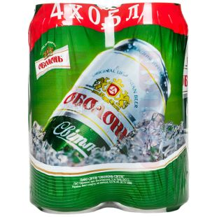 Оболонь Светлое Пиво, 0.5л, жестяная банка, упаковка 4шт.