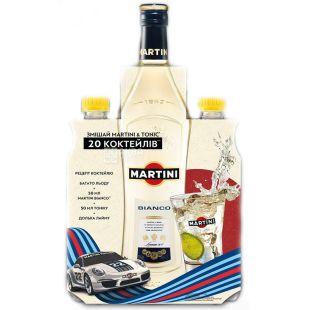 Martini Вермут, Бьянко сладкий, 1,0 л + Тоник, 1,0 л, Стекло