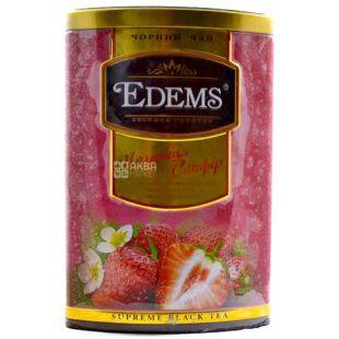 Edems, Strawberry, 200г, Чай Эдемс, Клубника, черный, крупнолистовой, ж/б