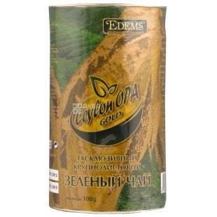 Edems, Ceylon OPA Gold, 100г, Чай Едемс, Цейлон, зелений, крупнолистовой, тубус