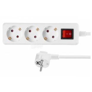 Сетевой фильтр, С выключателем, Белый, 2Е 3XSchuko, 3G1.5 * 1.8 м