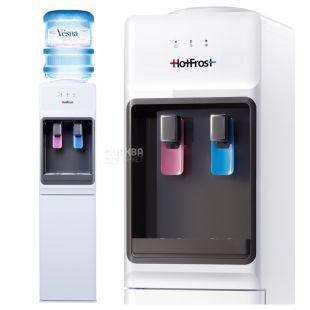 HotFrost V1133, Кулер для воды напольный, черно-белый, 2 крана