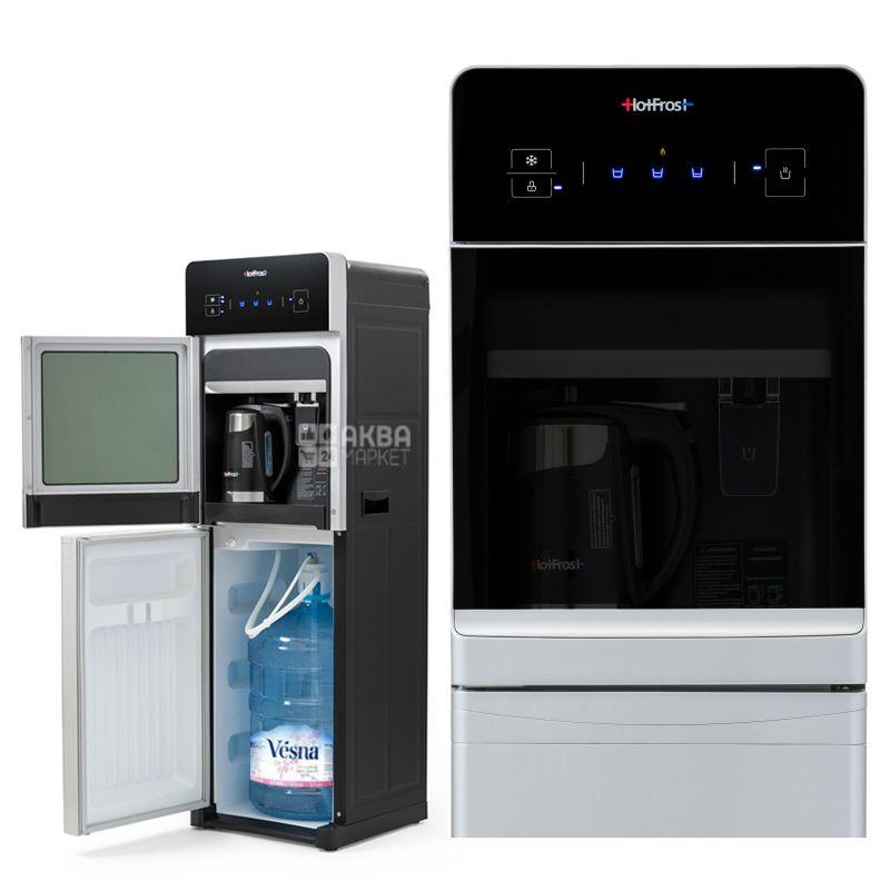 HotFrost 350ANET Silver, Кулер для воды с электронным охлаждением, напольный с чайником, сенсорная панель, 1 кран