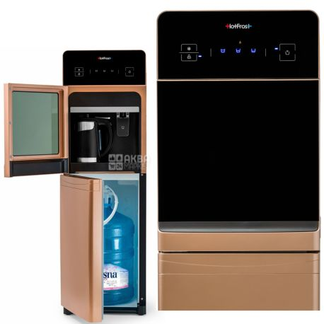 HotFrost 350ANET Gold, Кулер для воды с электронным охлаждением, напольный, с чайником, сенсорная панель, 1 кран