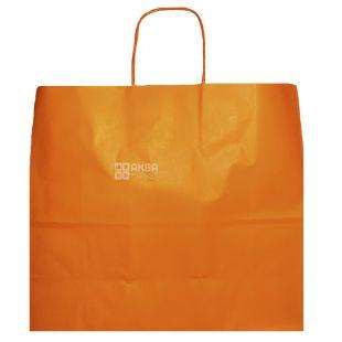 Пакет бумажный с ручками, Оранжевый, 32 х 13 х 28 см