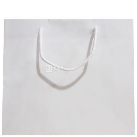 Пакет бумажный с ручками, Ламинированный, Белый, 32 х 10 х 27 см