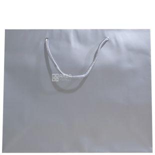 Пакет паперовий з ручками, Ламінований, Срібний, 32 х 10 х 27 см