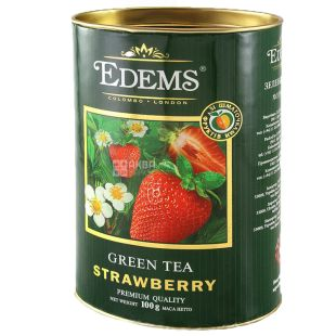 Edems, Strawberry, 100г, Чай Едемс, Полуниця, зелений, тубус