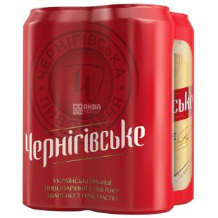 Черниговское Пиво светлое, 0.5л, жестяная банка, упаковка 4шт