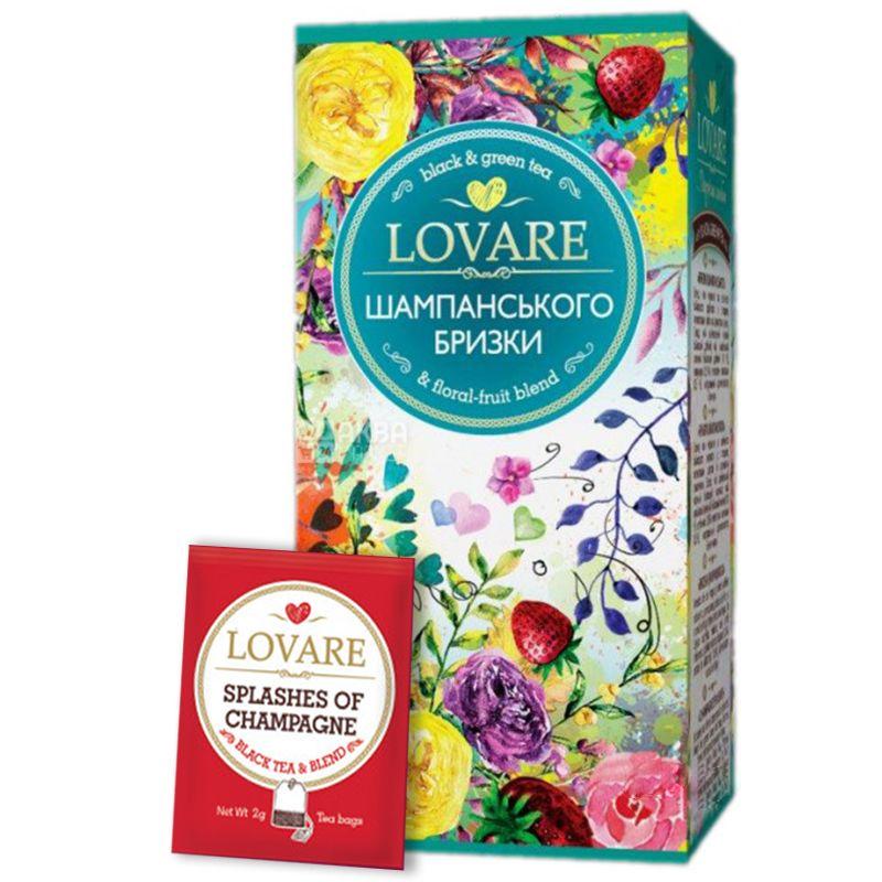 Lovare, 24 пак. х 2 г, Чай Ловара, Бризки шампанського, Суміш чорного і зеленого чаю