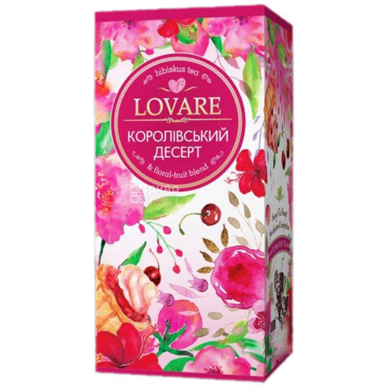 Lovare, Royal dessert, 24 пак. х 1,5 г, Чай Ловара, Королівський десерт, Суміш квіткового і фруктового чаю