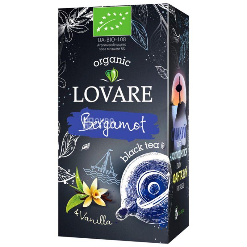 Lovare, Bergamot, 24 пак. х 1,5 г, Чай Ловаре, Бергамот и Ваниль, Черный органический