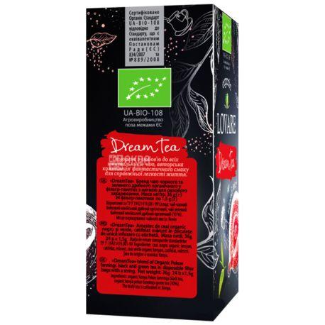 Lovare, Dream Tea, 24 пак. х 1,5 г, Чай Ловаре, Чай мечты, Смесь черного и зеленого чая, Органический