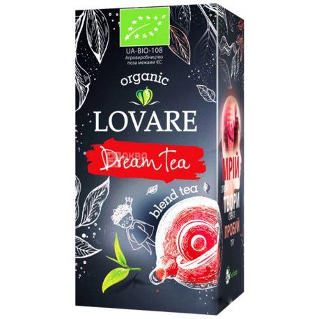 Lovare, Dream Tea, 24 пак. х 1,5 г, Чай Ловара, Чай мрії, Суміш чорного і зеленого чаю, Органічний