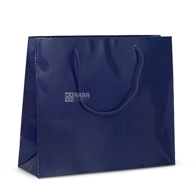 Пакет бумажный с ручками, Ламинированный, Синий, 32 х 10 х 27 см