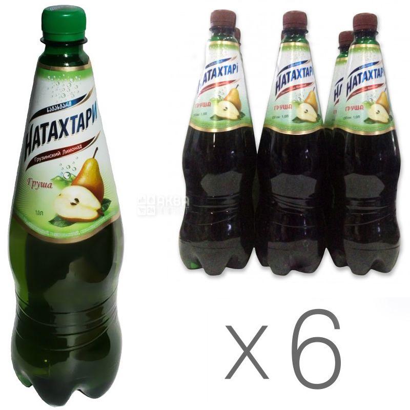 Натахтари, Груша, 1 л, Упаковка 6 шт., Лимонад, ПЭТ