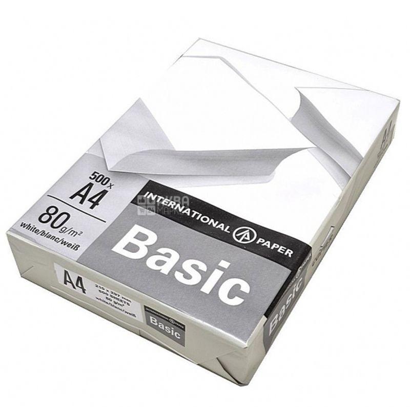 IP Basic, Папір офісний білий А4, 80 г/м2, 500 л.*5 шт., м/у