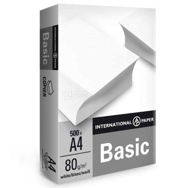 IP Basic, Бумага офисная белая А4, 80 г/м2, 500 л.*5 шт., м/у