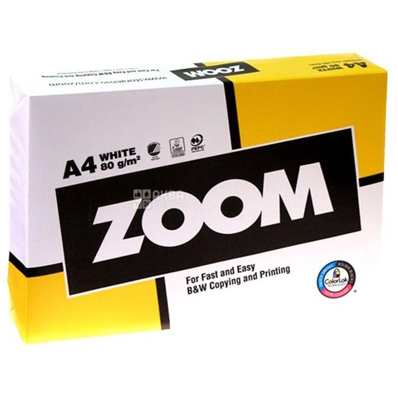 Zoom, Бумага офисная белая А4, 80 г/м2, 500 л.*5 шт.