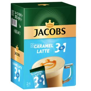 Jacobs 3в1 Caramel Latte, Кавовий напій у стіках, 24 шт. x 12,3 г, картон