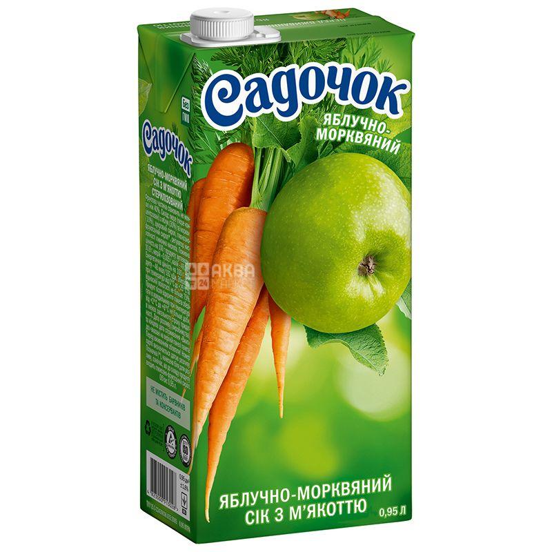 Садочок, Яблочно-морковный, 0,95 л, Сок с мякотью