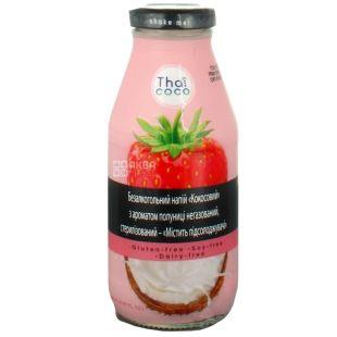 Thai Coco, Кокосовый, 0,28 л, Тай коко, Напиток с ароматом клубники, негазированный, безглютеновый, стекло