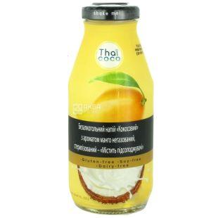Thai Coco, Кокосовый, 0,28 л, Тай коко, Напиток с ароматом манго, негазированный, безглютеновый, стекло