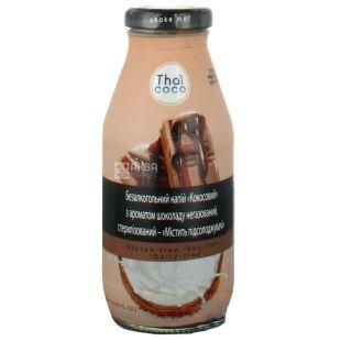 Thai Coco, Кокосовый, 0,28 л, Тай коко, Напиток с ароматом шоколада, негазированный, безглютеновый, стекло