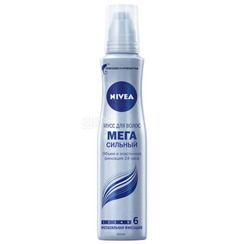Nivea, 150 мл, мусс для волос, Мегасильный