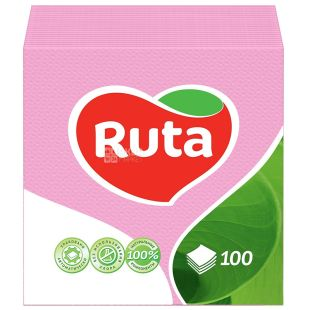 Ruta, 100 шт., Салфетки столовые Рута, однослойные, 24x24 см, розовые
