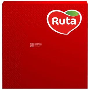 Ruta, 20 шт., Салфетки столовые Рута, 3-х слойные, 33x33 см, красные