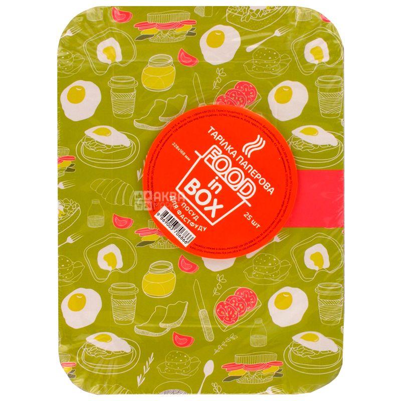 Тарелка, 25 шт., 228×168 мм, Бумажная, Прямая, Белая, Food in Box