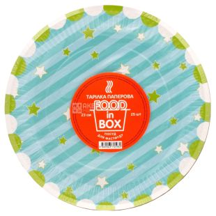 Plate, 25 pcs., 23 cm, Paper, Round, Stars, Food in Box